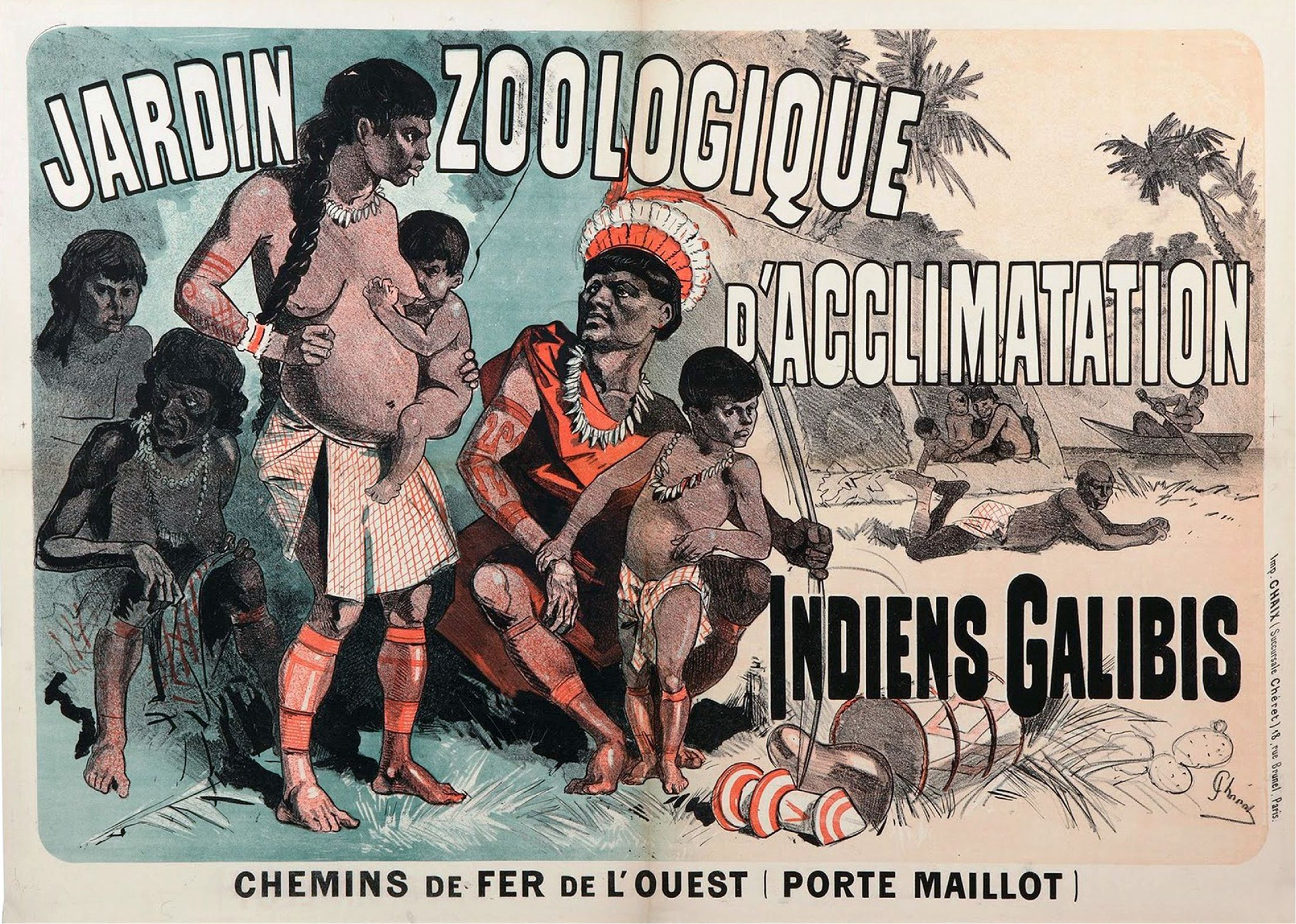 Stereotypical propaganda ad for racist colonial exhibition