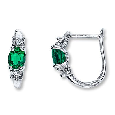 Lab-Created Emerald Earrings with Diamonds  Sterling Silver