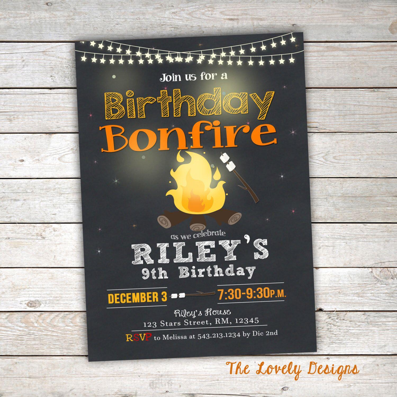 Bonfire Birthday Invitation, Camp Birthday Invitation, Smores ...
