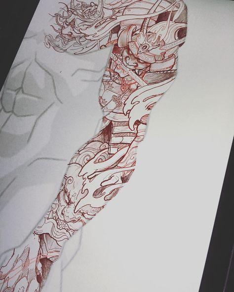 Piece Has Been Spoken For Irezumicollective Vancouvertattoo Chronicink Samurai Hannya Foodog Japanese Tattoo Tattoo Sleeve Designs Samurai Tattoo Sleeve