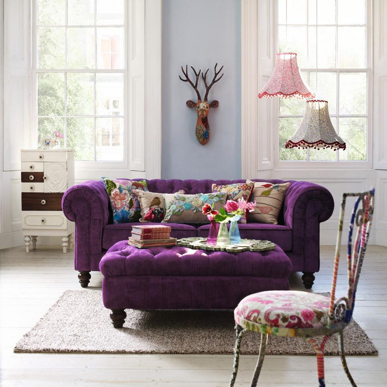 Debenhams Large Mulberry Coloured Chesterfield Sofa At