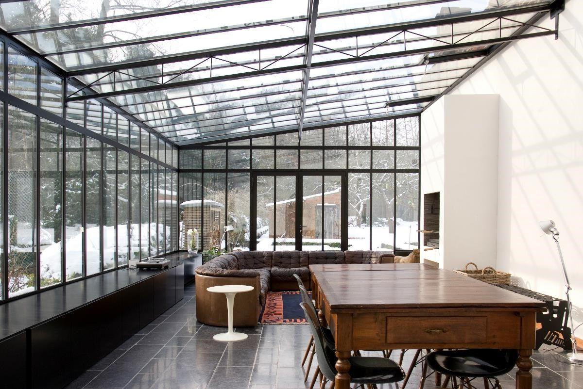 serre in staal 2 n met lessenaarsdak aanbouw serre pinterest veranda verriere atelier. Black Bedroom Furniture Sets. Home Design Ideas