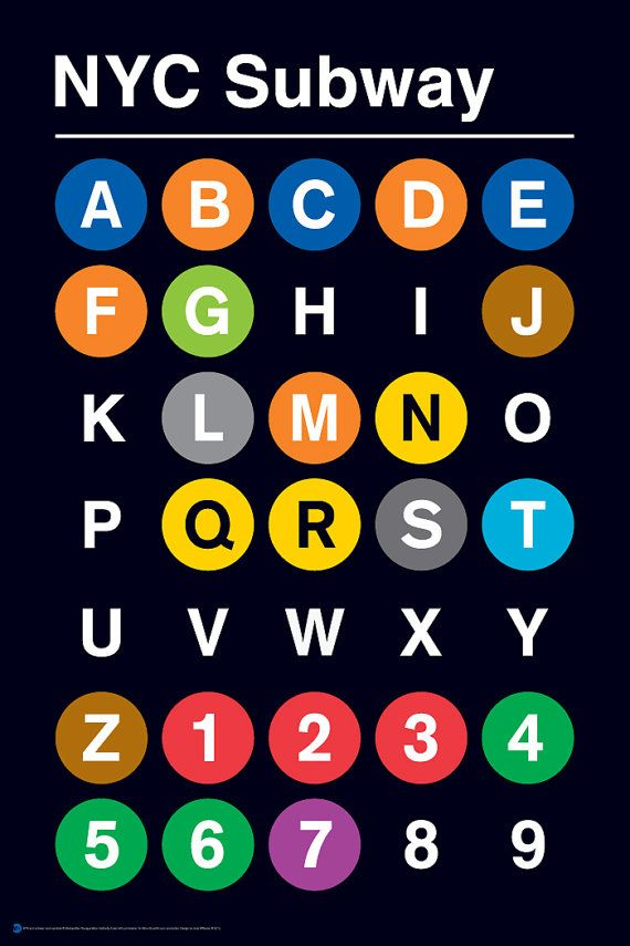 Nyc Subway Map Print.24 X 36 13 Color Silk Screen Alpha Numeric Nyc Subway Print By