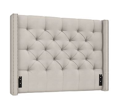 Harper Upholstered Tufted Low Headboard with Bronze Nailheads ...