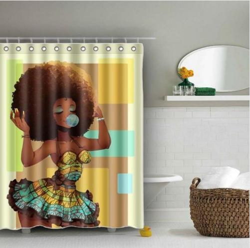 Afrocentric Shower Curtain Bubble Gum Home Decorations