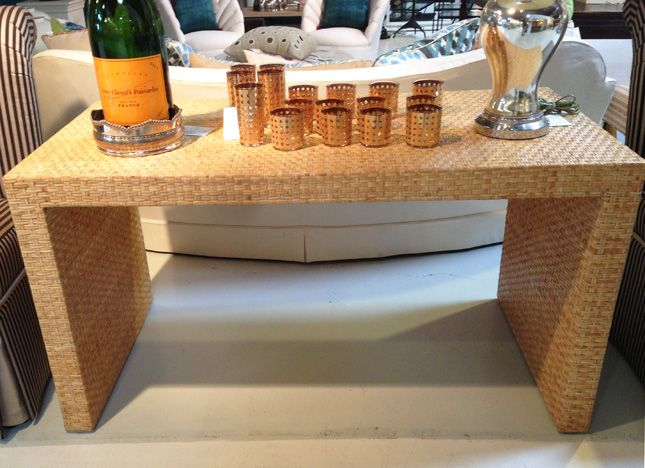 rattan console table. Billy Baldwin-style Rattan Wrapped Parsons Table From The 1970\u2032s Console