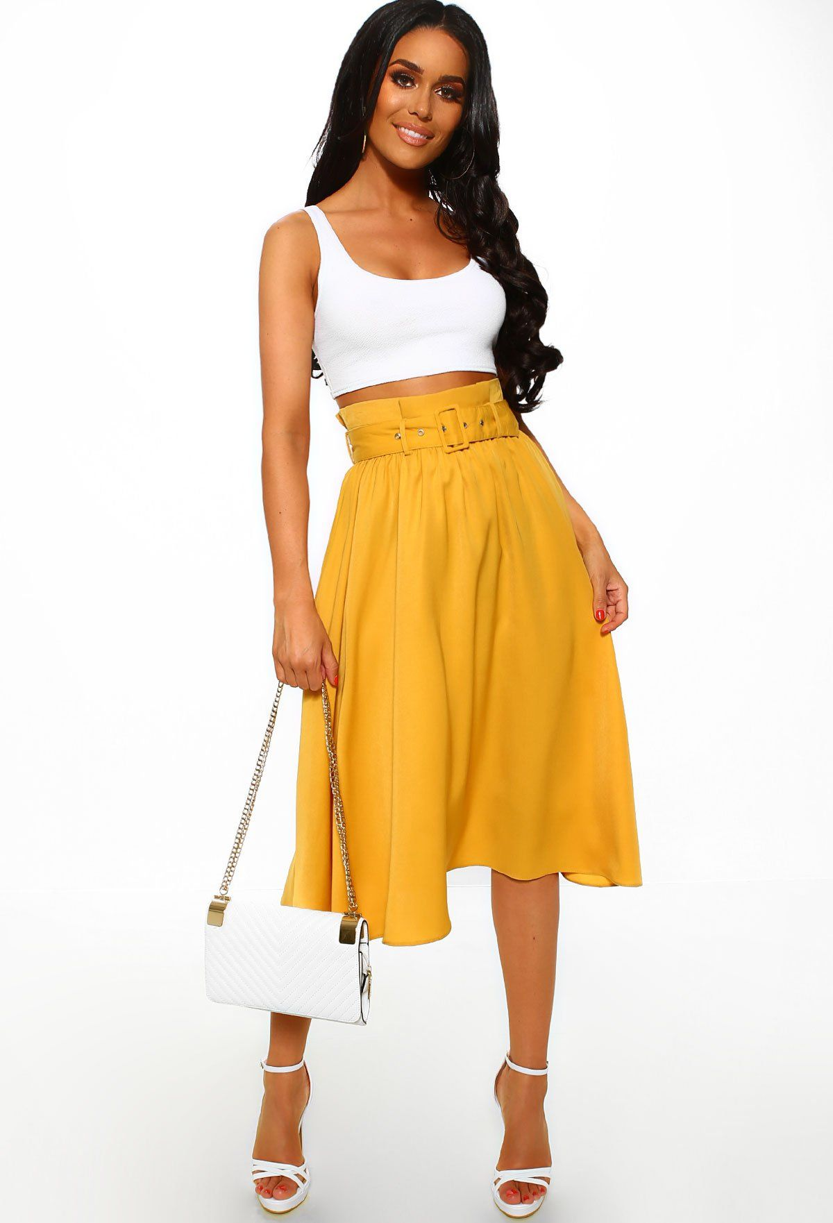 57c14178cdb1a8 On Cloud 9 Mustard Belted High Waisted Midi Skirt – Pink Boutique UK