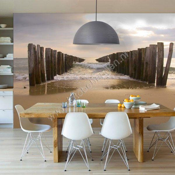 Fotobehang met de zee en het strand wachtkamer praktijk pinterest - Fotomurales pixel ...
