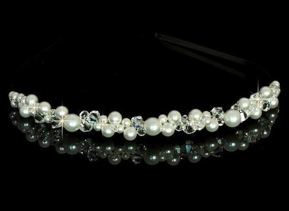 Bridal Swarovski Pearl and Crystal Headband in silver
