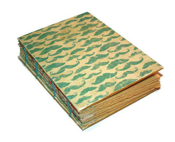 Vintage Mustache Inspired Coptic Journal by Thenibandquill on Etsy, $37.00