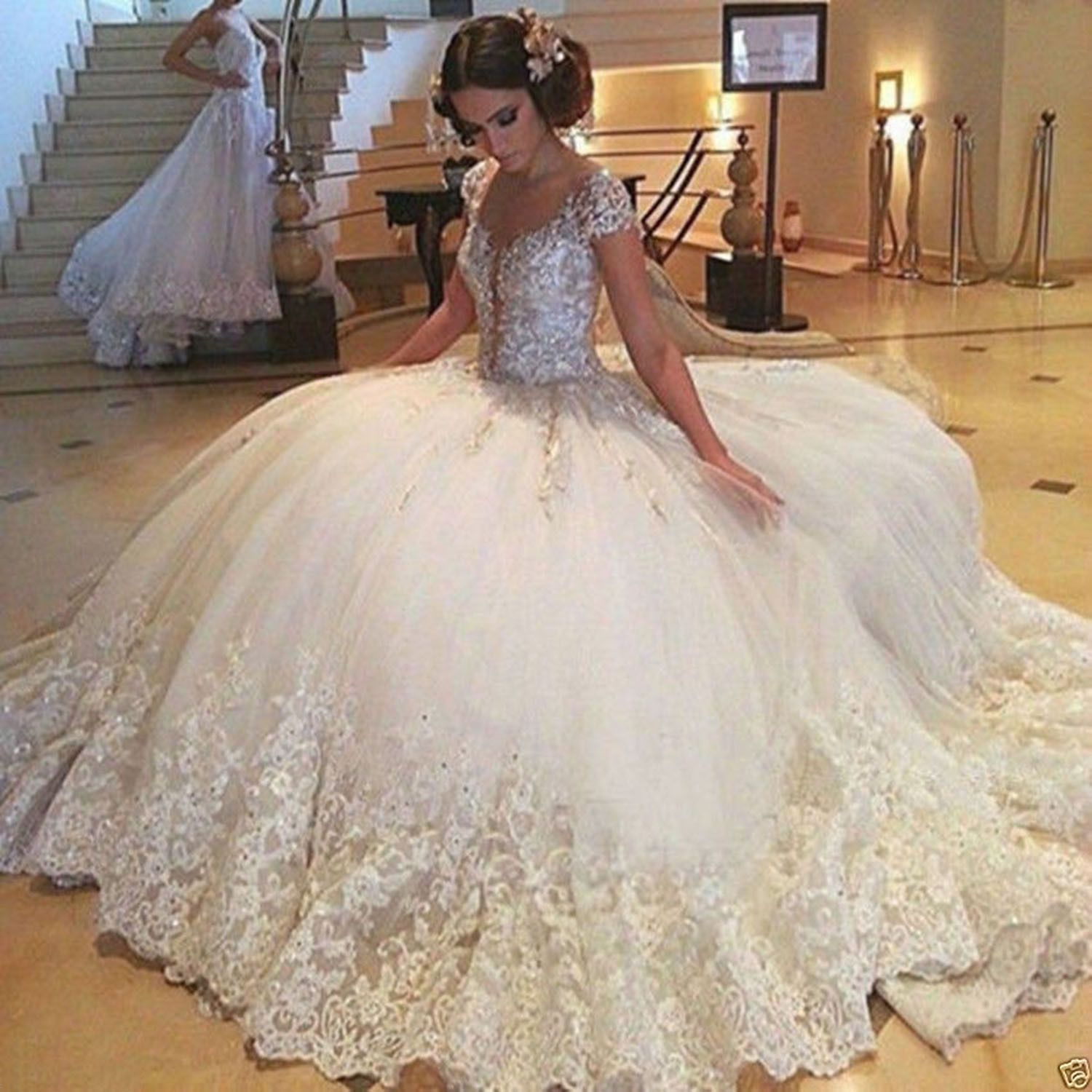 White puffy wedding dresses  Awesome Great WhiteIvory Lace Beaded Marriage Ball Gown Princess
