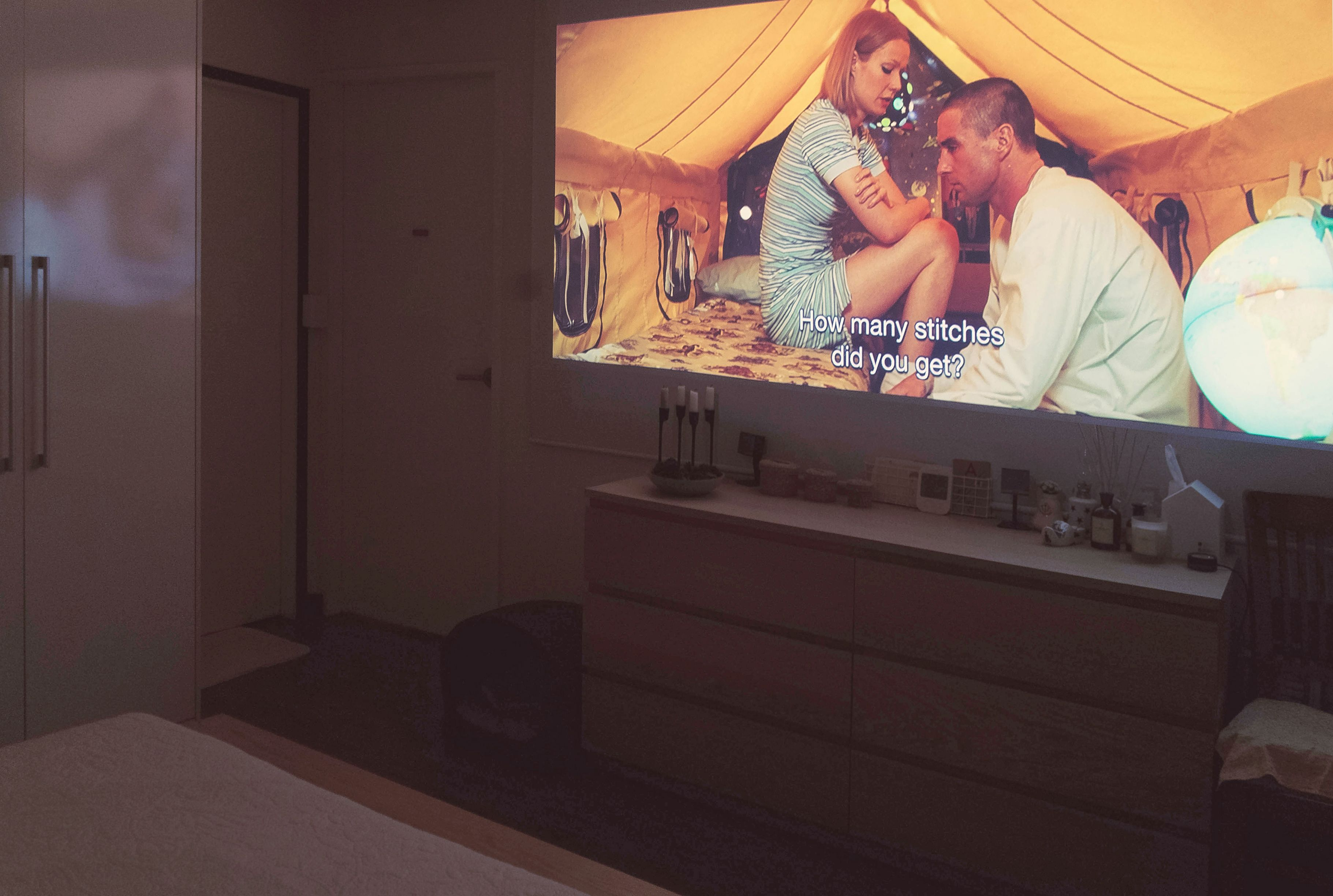 watching movie, bedroom, projector, screen Home theater