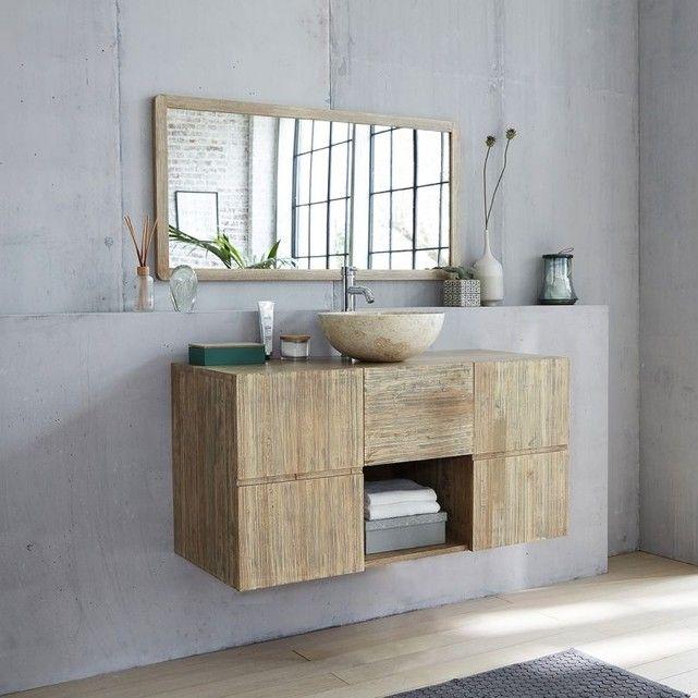 Meuble de salle de bain en bois d\u0027hévéa suspendu 120 Armoires