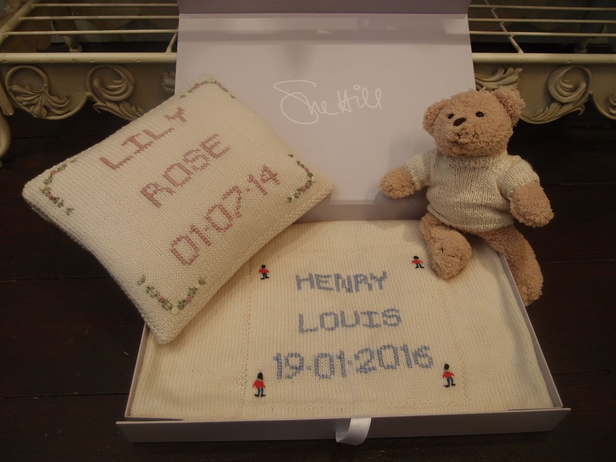 129477e38bc67 Our most popular newborn baby gifts - hand embroidered nursery cushion and  personalised cot blanket http