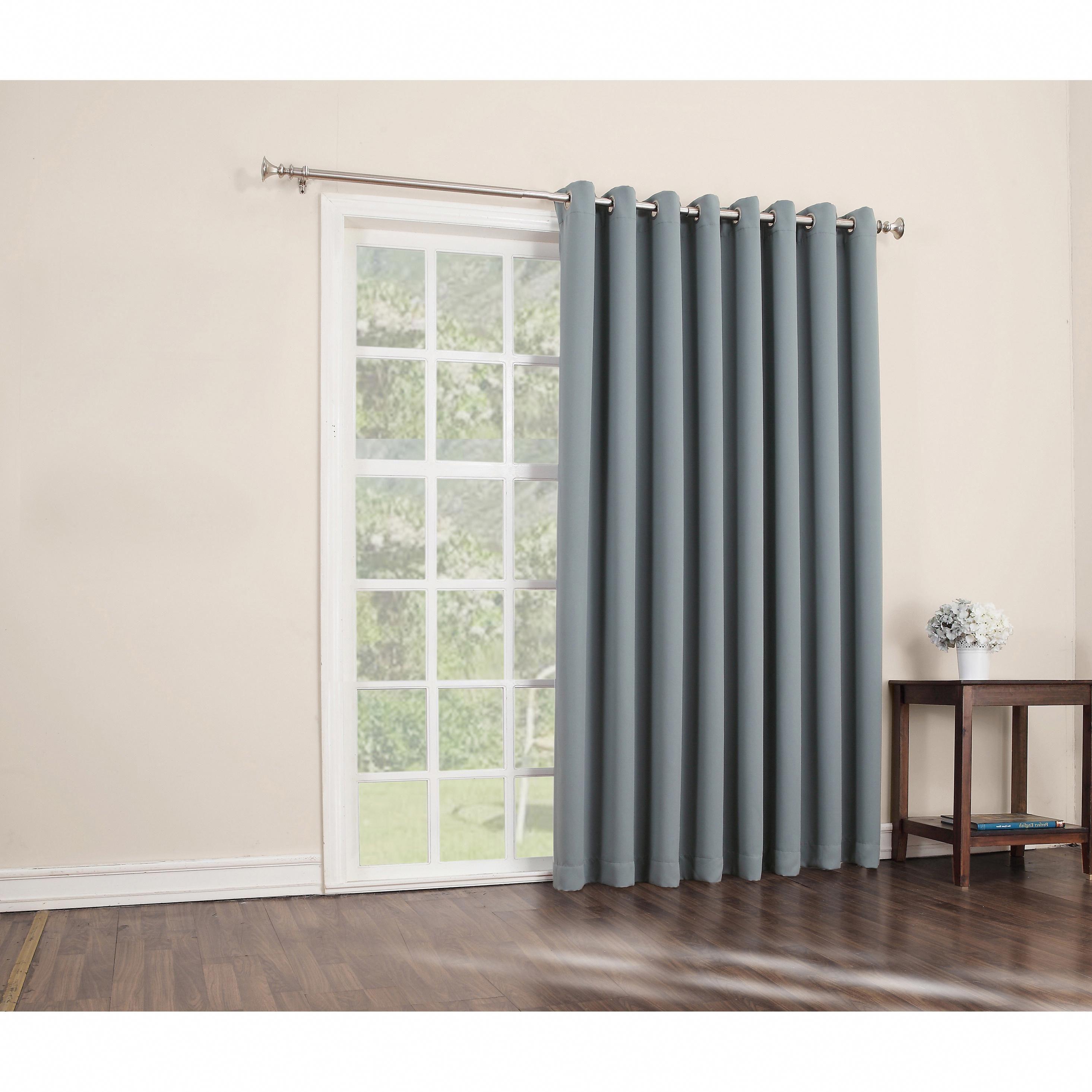 Sun Zero Hayden 100 Inch X 84 Inch Grommet Blackout Patio Door Window Curtain Panel Mineral Brown Cho Patio Door Curtains Patio Curtains Sliding Patio Doors