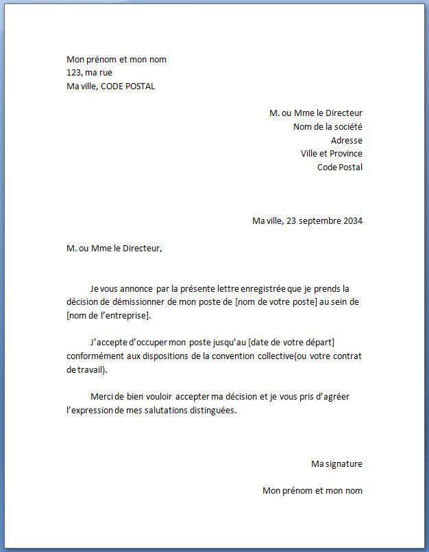 exemple de lettre de d u00e9mission type standard