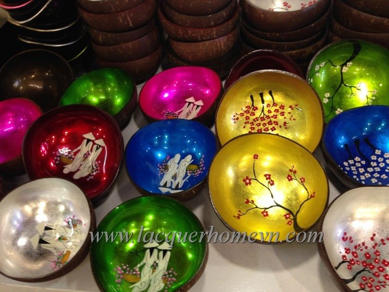 Vietnamese Lacquerware Factory, Vietnam Bamboo, Vietnam Handicrafts,  Vietnam Lacquered Coconut Bowl With Eggshell Inlaid