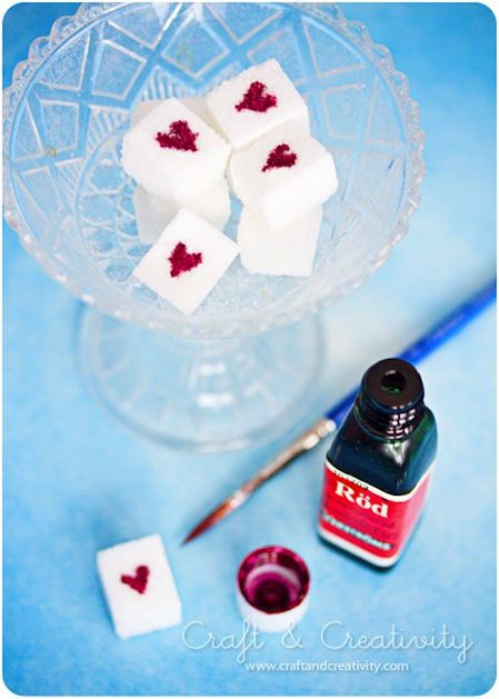 Sugar Cubes with Painted Hearts - I see possibilities...