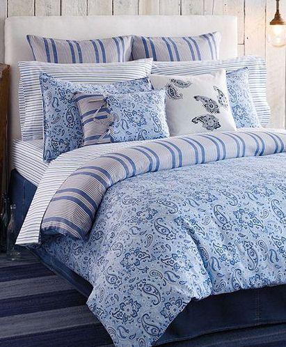 Tommy Hilfiger Tucker Island Blue Paisley 3pc Full Queen Comforter Set Np Roupa De Cama Conjunto De Edredom Capa De Edredon
