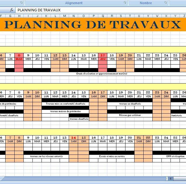 Modle Planning Travaux De Construction Xls Cours De