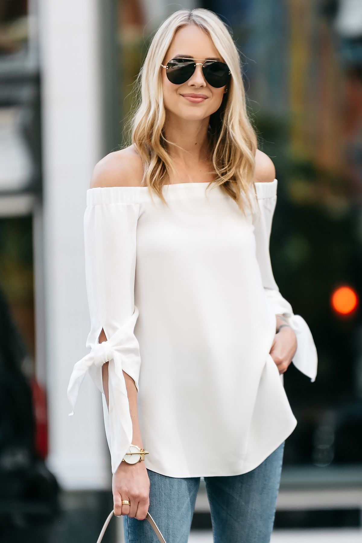 828a70ea8ee Fashion Jackson, Dallas Blogger, Fashion Blogger, Street Style, Club Monaco  Sophiya Top, White Off-the-Shoulder Top, Topshop Jamie Jeans, Denim Ripped  ...