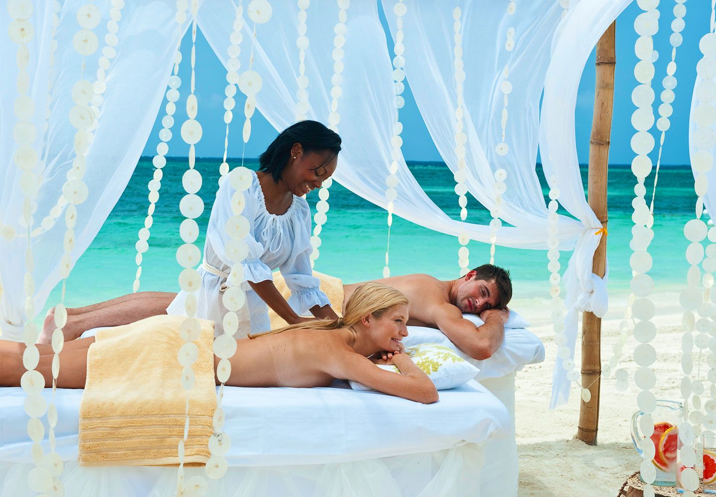 A couples massage on the beach is entirely possible at for Spa weekend getaways for couples