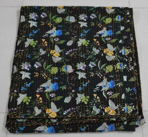 Black Floral Kantha Quilt Queen Size Indian Kantha Bedspread Blanket Boho Kantha Throw Fair Trade Ka Kantha Quilt Queen Queen Quilt Indian Quilt