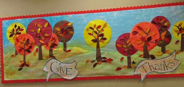 """Give Thanks"" is an example of Thanksgiving bulletin board display filled with a…"
