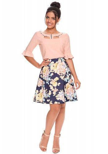 a2f03d7441 conjunto moda teen saia gode estampa floral blusa bordada manga sino zunna  ribeiro viaevangelica