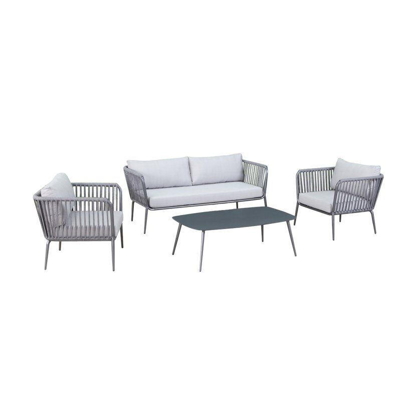 Elsie 4 Piece Sofa Seating Group With Cushions Allmodern Sofa Set Outdoor Sofa Sets Contemporary Outdoor Sofas