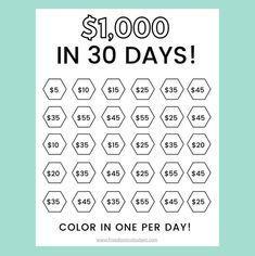 Money Saving Challenge Printable   Save 1000 in 30