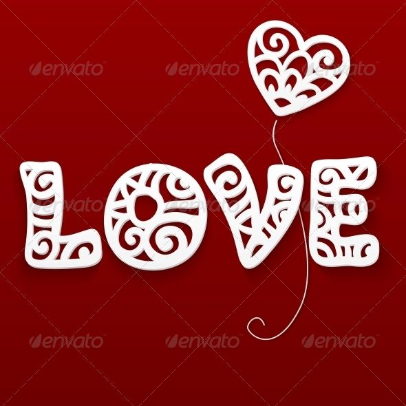 Vector Cut Out Paper Lacy Love Sign Font logo - love templates free