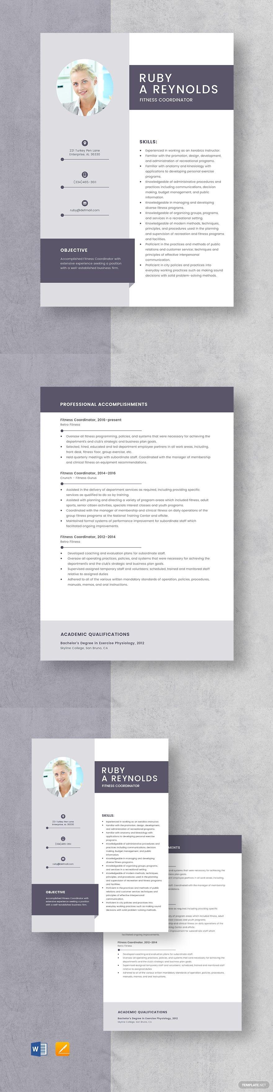 Fitness Coordinator Resume Template #AD, , #AFFILIATE, #Coordinator, #Fitness, #Template, #Resume