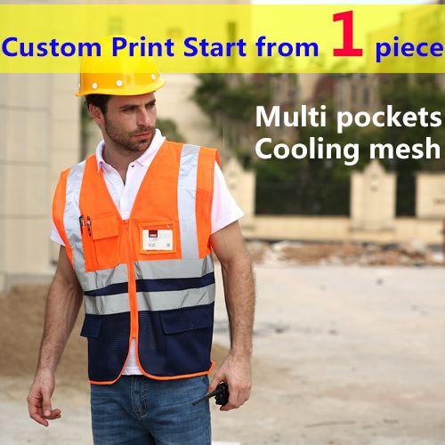 Spardwear High Quality Reflective Orange Vest For Men Hi Vis