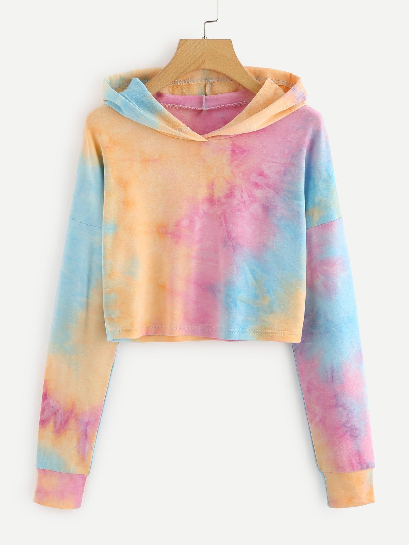 Hoodie Gradient Crop Top Sweatshirt