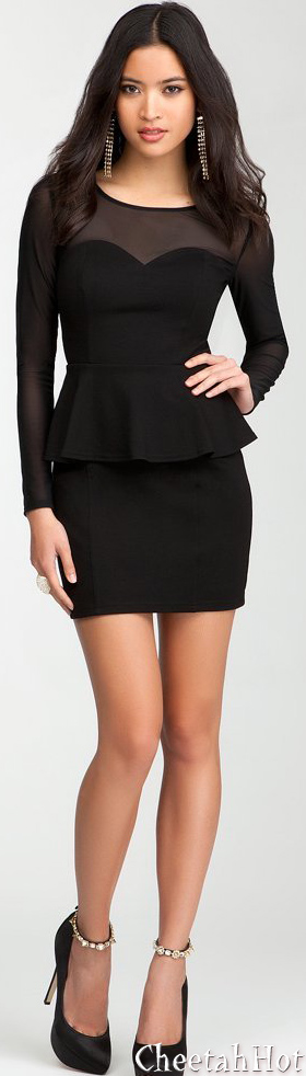 BEBE -Sweetheart Peplum Mesh Dress
