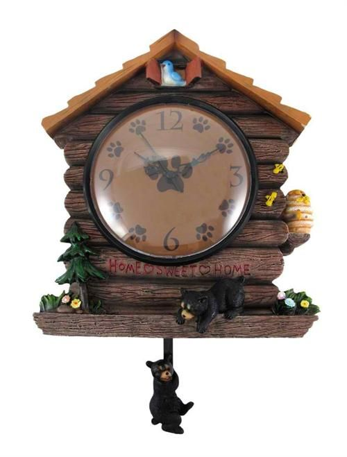 Black Bear Log Cabin Clock