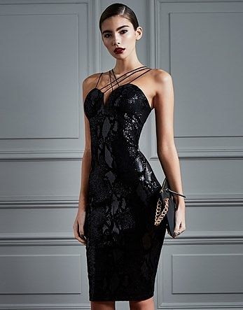 Womens black rare textured snake sequin midi dress from Lipsy - £62 at ClothingByColour.com