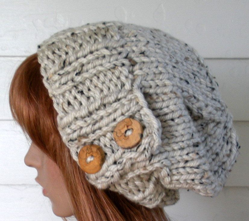 Knit Hat Womens Knit Hat Winter Hat Slouchy Beanie Hat Oatmeal