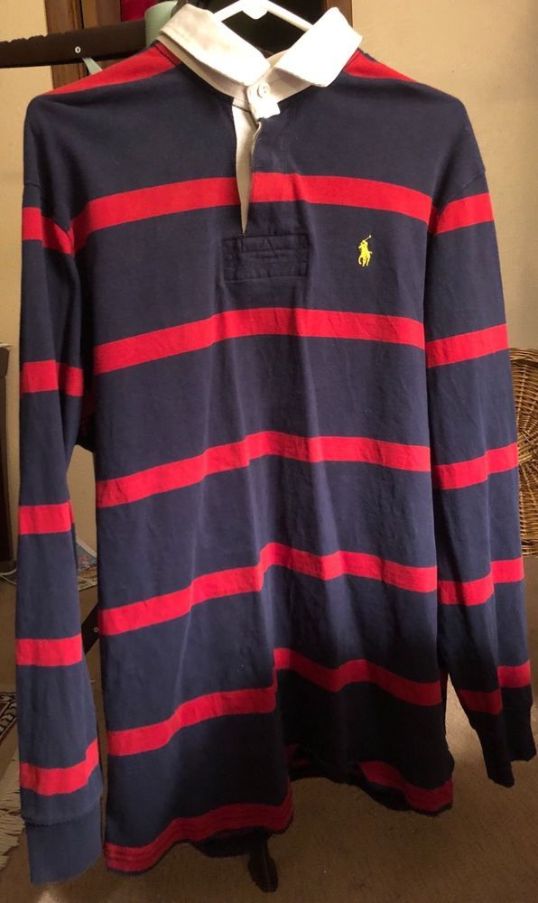 0d18d5452 Polo Ralph Lauren Vintage Red Navy Blue Striped Long Sleeve Rugby Shirt  Men s L  PoloRalphLauren  PoloRugby