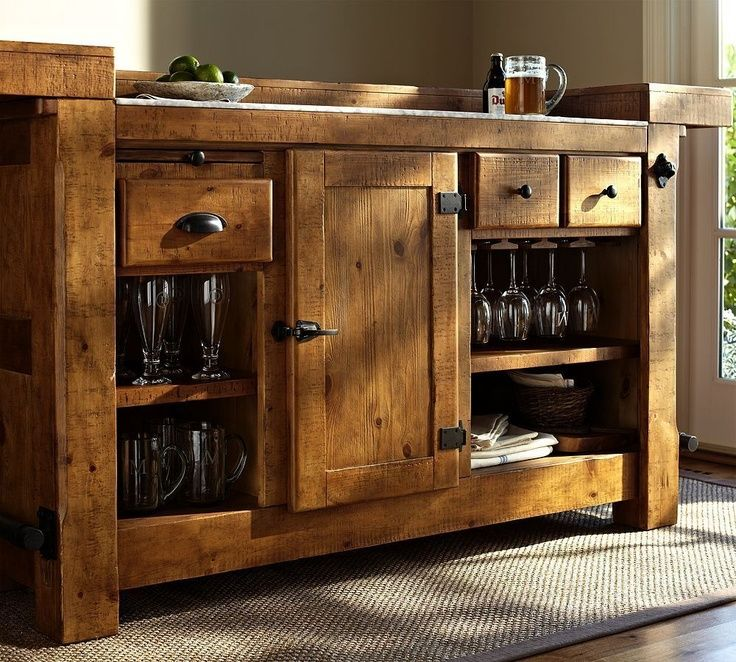 Rustic Ultimate Bar   Pottery Barn (Wood You Mind? Consoles Cabinets /  Bookcases Wood Classic Natural Brown Iron Embellishments Living Room)