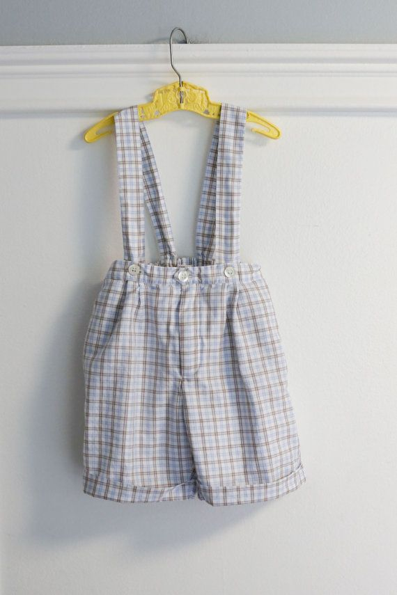 0d8ebcad4 18 months  Vintage Blue and Brown Plaid Suspender by Petitpoesy ...