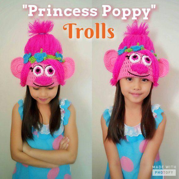 5739b1343d9 Poppy trolls crochet wig hat