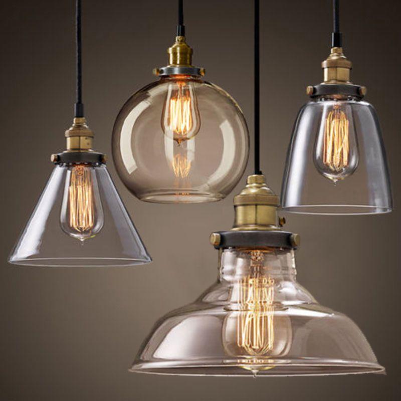 Moderno vintage industrial retro loft vidrio lampara de - Lampara industrial vintage ...