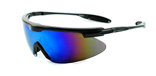 20282be1b2 Lightweight Oversized Sports Shield Mirrored Wrap Around Sunglasses  Baseball Cycling Running Black Blue Revo -- Visit the image link more  details.