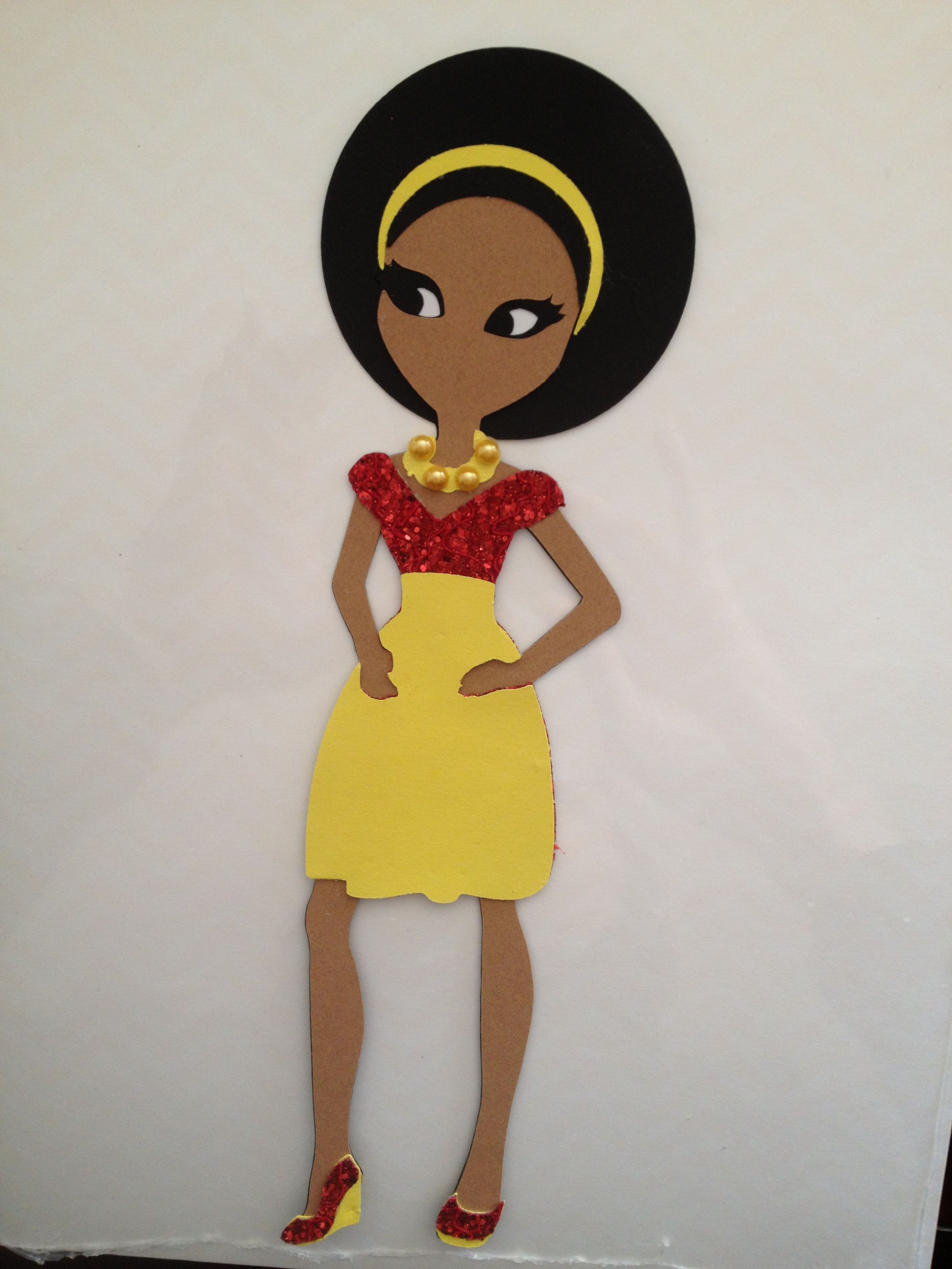 "#Cricut 9"" Paper Doll Teen Scene  #Red Glittered Lace Top, Yellow Skirt & Matching Shoes"