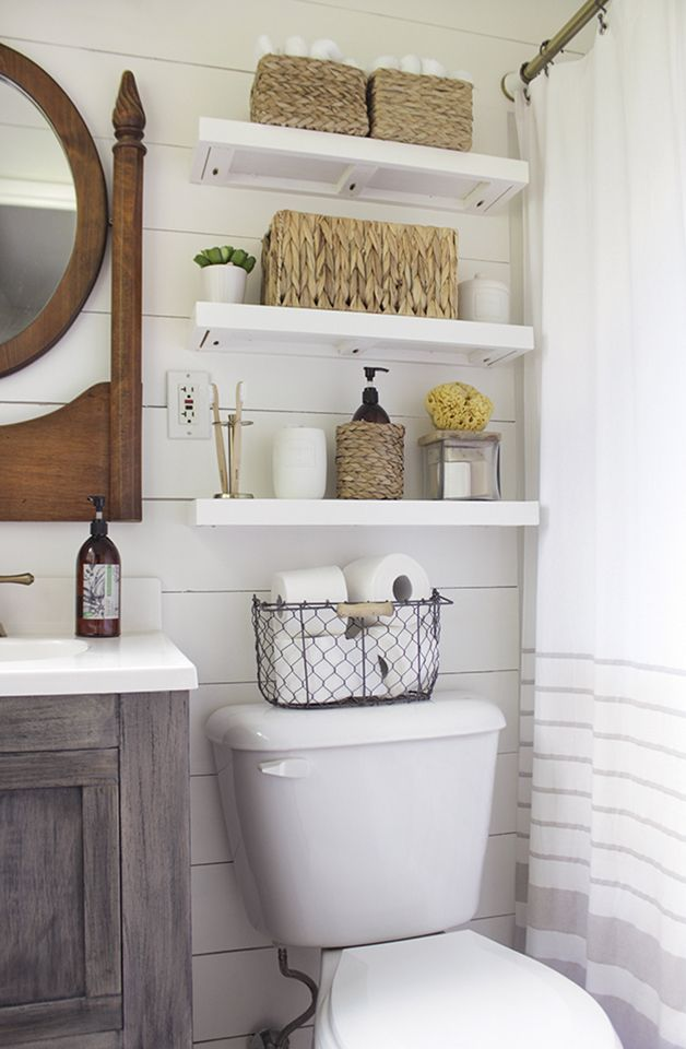 fresh and clean white open shelving in a bright bathroom | shades