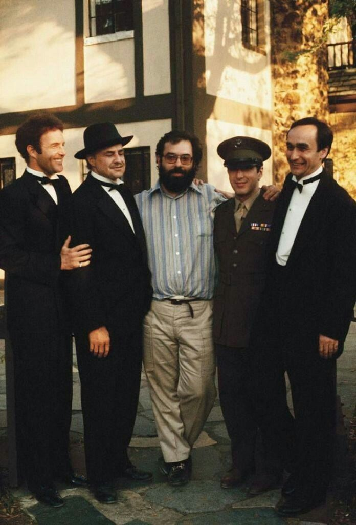Caan, Brando, Coppola, Pacino and Cazalle on the set of The Godfather
