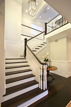 Gorgeous Stair Case Dark Wood Floors Treads White