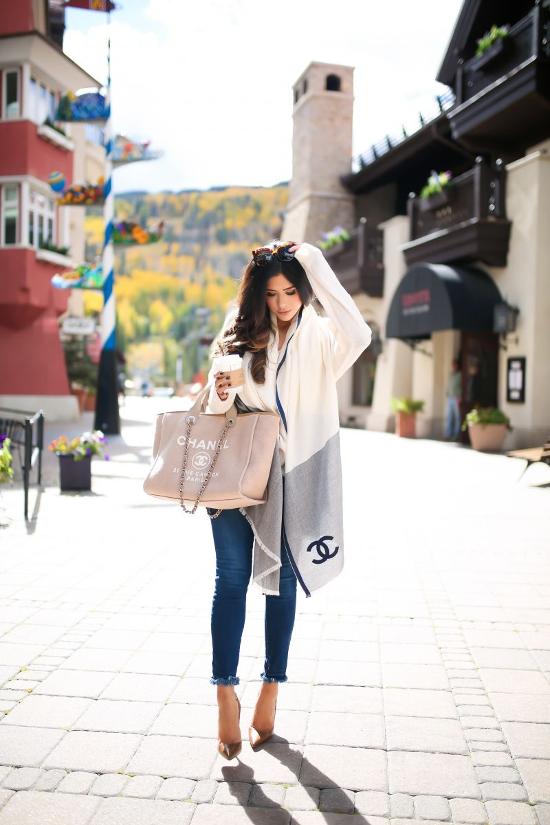 cd2a3c87586d OCTOBER 3, 2017 Cozy Mornings in Vail - OUTFIT DETAILS: SWEATER: H&M | DENIM:  DL1961 | HEELS: Christian Louboutin | SCARF: Chanel | SUNGLASSES: Gucci ...